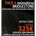 Pack 4 neumaticos Bridgestone Driveguard runflat 205/55 R16 94W