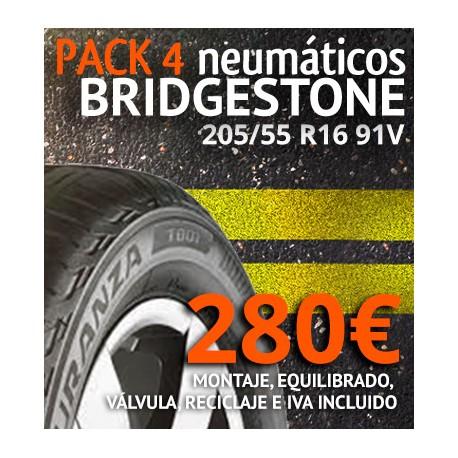 Pack 4 neumaticos Bridgestone 205/55 R16 91V